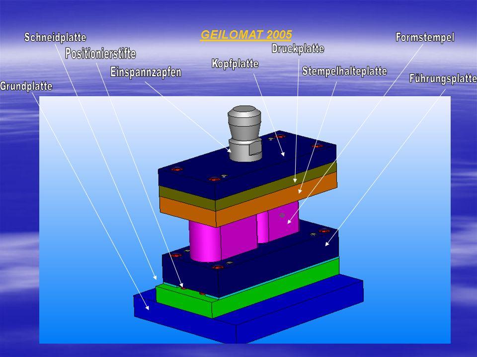 GEILOMAT 2005 Schneidplatte Formstempel Druckplatte Positionierstifte