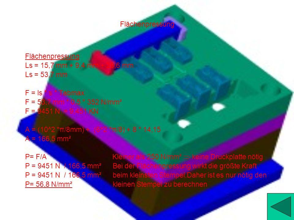 Flächenpressung Flächenpressung. Ls = 15,7 mm + 9,4 mm + 28,6 mm. Ls = 53,7 mm. F = ls * s * Tabmax.
