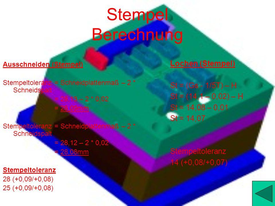 Stempel Berechnung Lochen (Stempel) St = (Gs - 1/5T) – H