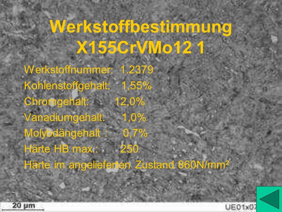 Werkstoffbestimmung X155CrVMo12 1