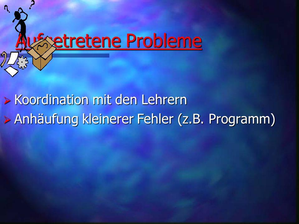 Aufgetretene Probleme
