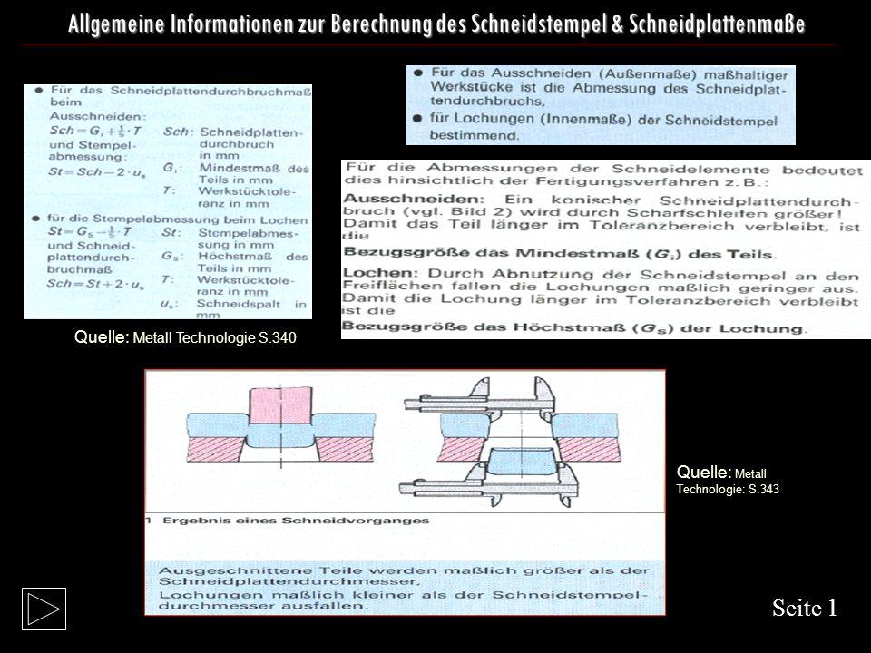 Allgemeine Informationen zur Berechnung des Schneidstempel & Schneidplattenmaße