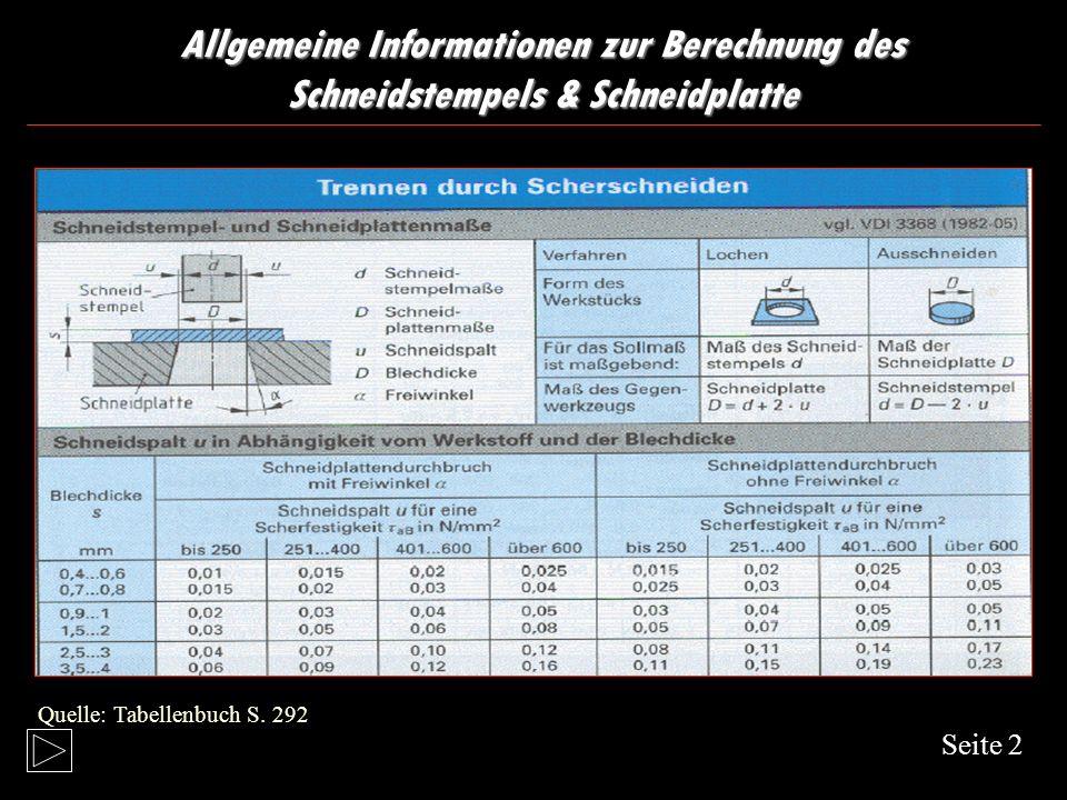 Allgemeine Informationen zur Berechnung des Schneidstempels & Schneidplatte