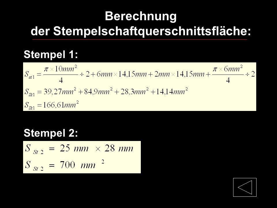 Berechnung der Stempelschaftquerschnittsfläche: