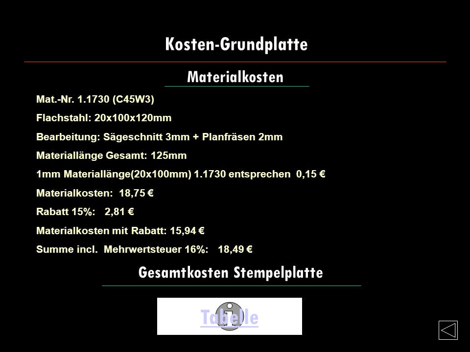 Tabelle Kosten-Grundplatte Materialkosten Gesamtkosten Stempelplatte