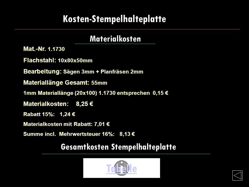 Tabelle Kosten-Stempelhalteplatte Materialkosten