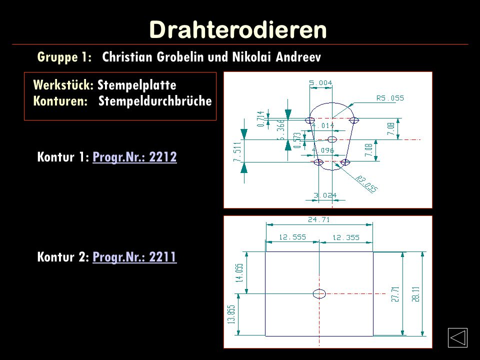 Drahterodieren Gruppe 1: Christian Grobelin und Nikolai Andreev