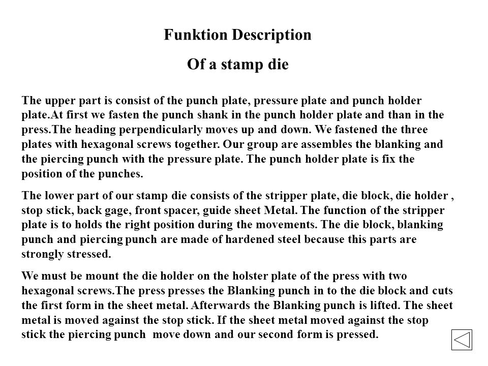 Funktion Description Of a stamp die