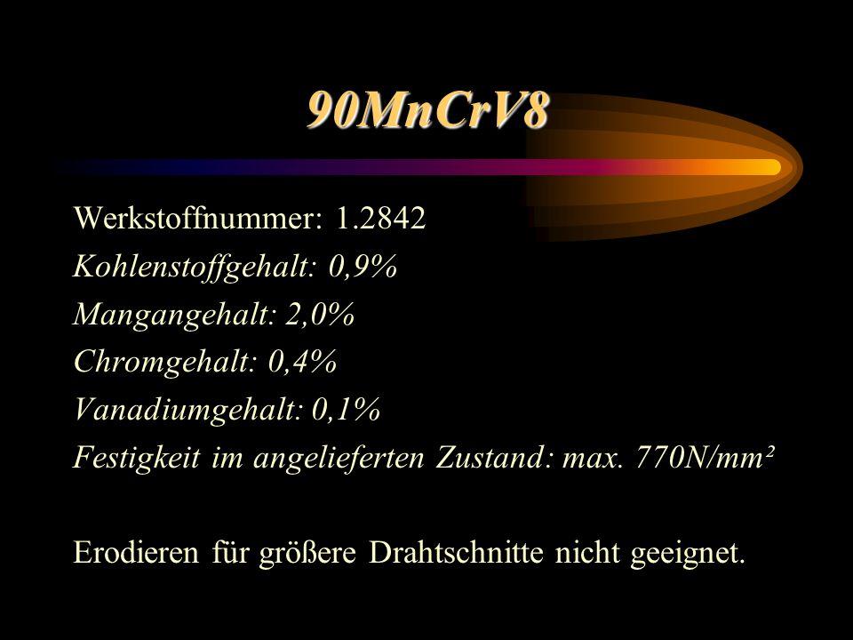 90MnCrV8 Werkstoffnummer: 1.2842 Kohlenstoffgehalt: 0,9%