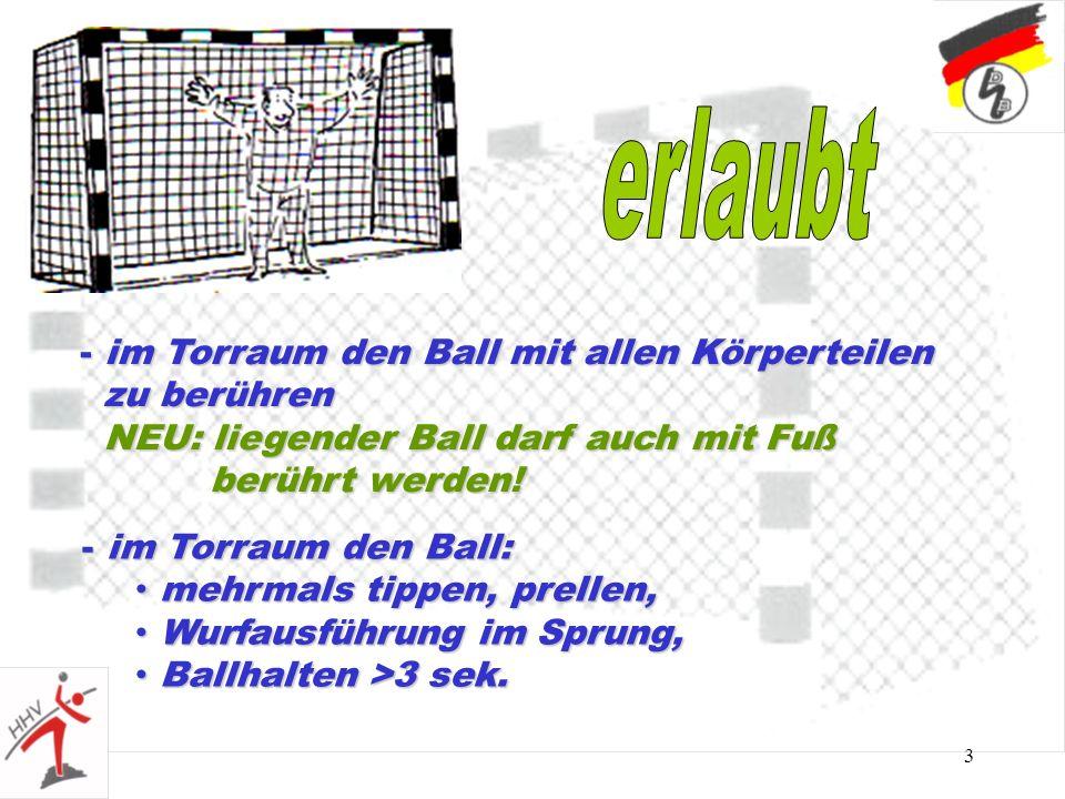 erlaubt im Torraum den Ball mit allen Körperteilen zu berühren NEU: liegender Ball darf auch mit Fuß berührt werden!