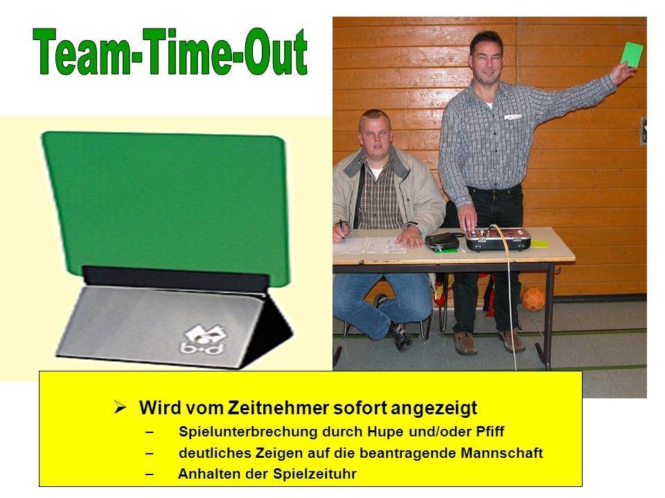 Team-Time-Out Wird vom Zeitnehmer sofort angezeigt
