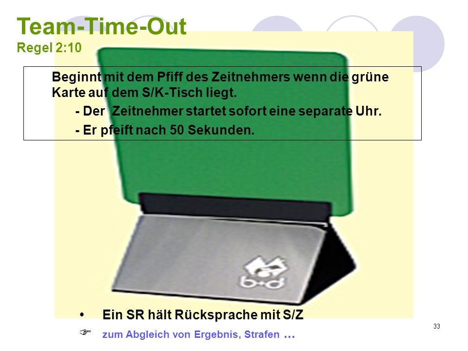 Team-Time-Out Regel 2:10Beginnt mit dem Pfiff des Zeitnehmers wenn die grüne Karte auf dem S/K-Tisch liegt.