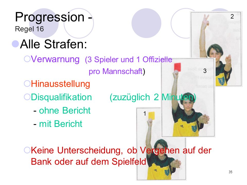 Progression - Regel 16 Alle Strafen: