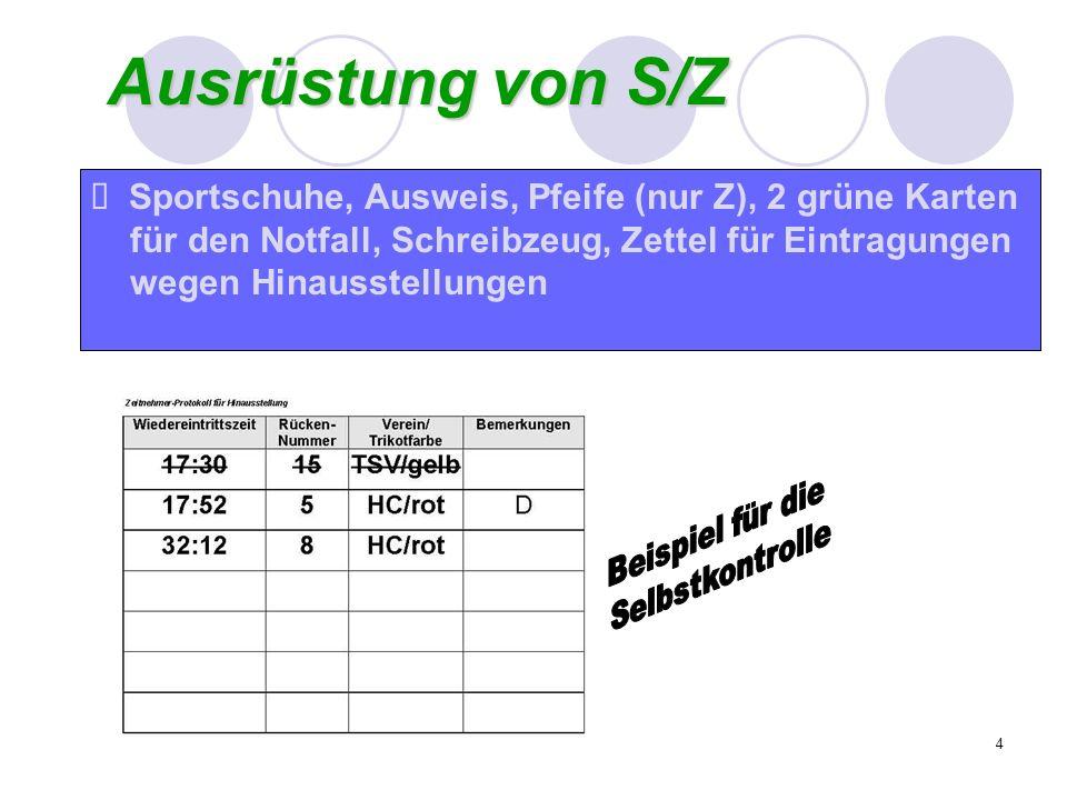 Ausrüstung von S/ZSportschuhe, Ausweis, Pfeife (nur Z), 2 grüne Karten. für den Notfall, Schreibzeug, Zettel für Eintragungen.