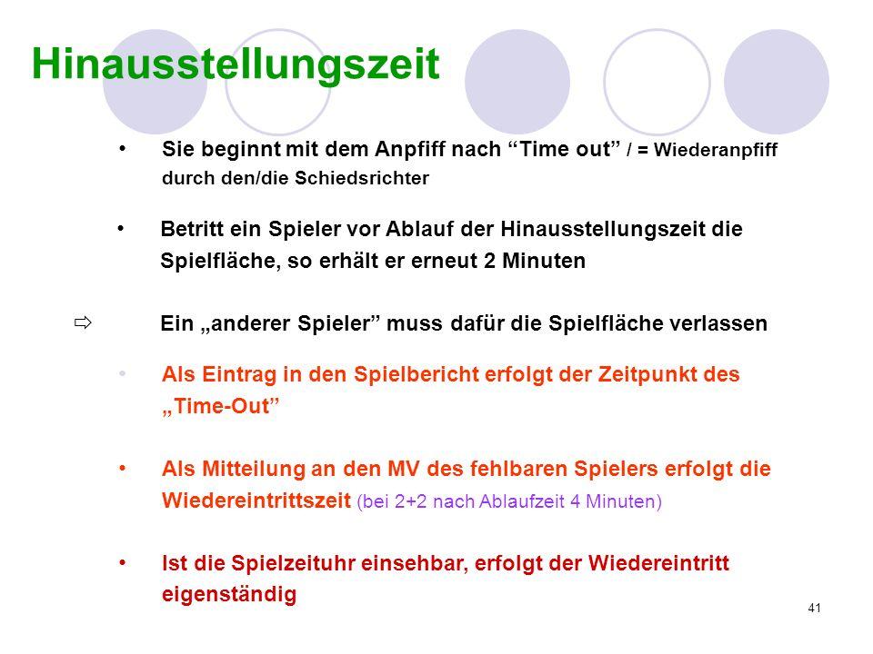 HinausstellungszeitSie beginnt mit dem Anpfiff nach Time out / = Wiederanpfiff. durch den/die Schiedsrichter.