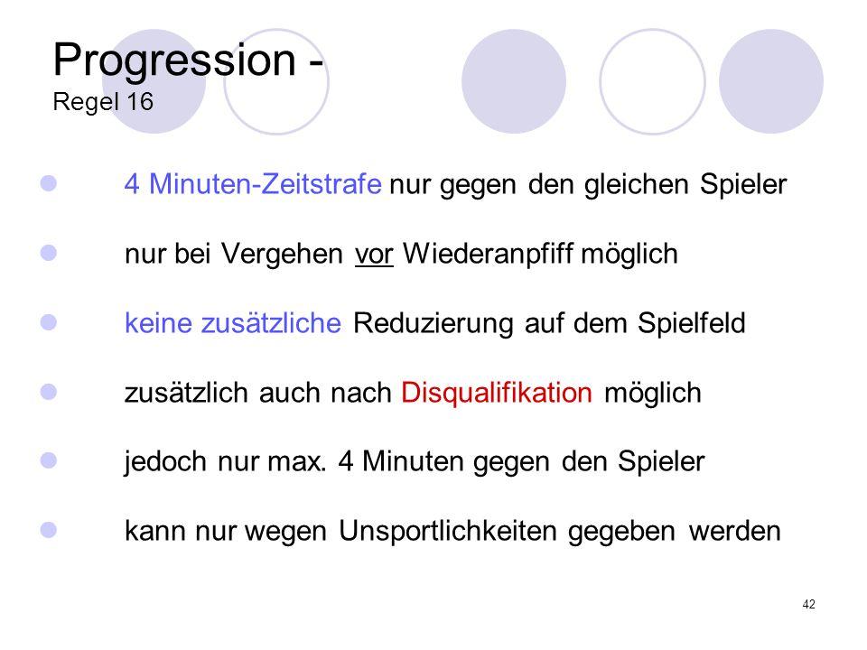 Progression - Regel 16 4 Minuten-Zeitstrafe nur gegen den gleichen Spieler. nur bei Vergehen vor Wiederanpfiff möglich.