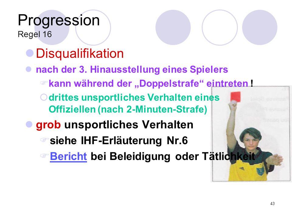 Progression Regel 16 Disqualifikation grob unsportliches Verhalten