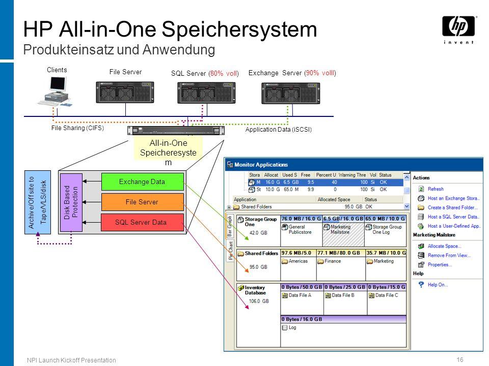 HP All-in-One Speichersystem Produkteinsatz und Anwendung