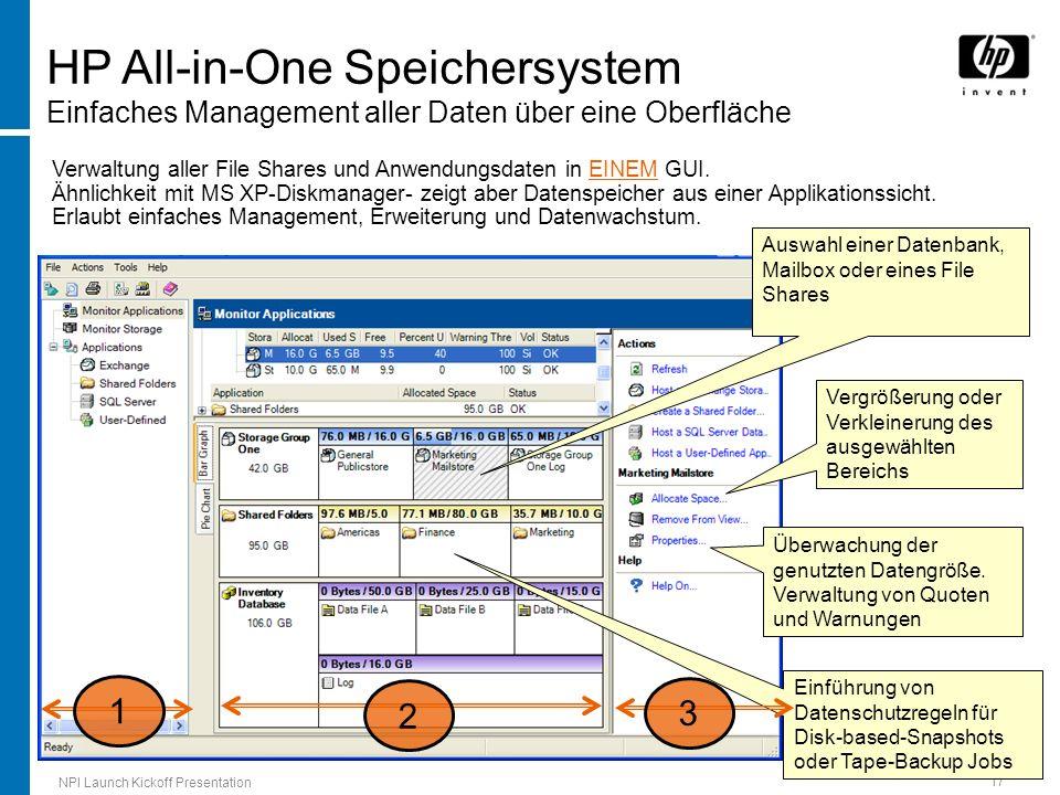 HP All-in-One Speichersystem Einfaches Management aller Daten über eine Oberfläche