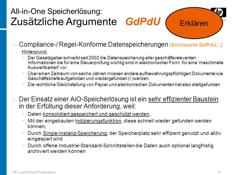 All-in-One Speicherlösung: Zusätzliche Argumente GdPdU