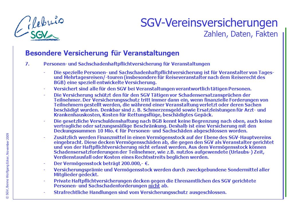 © SGV, Benno Wolfgang Ecker, November 2009