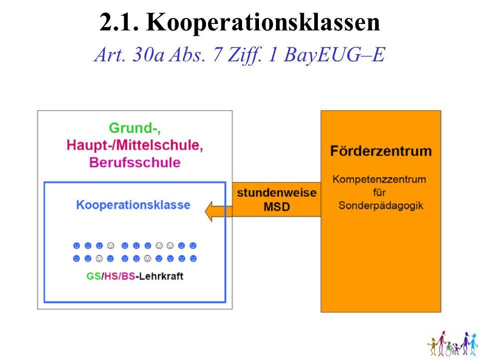 2.1. Kooperationsklassen Art. 30a Abs. 7 Ziff. 1 BayEUG–E