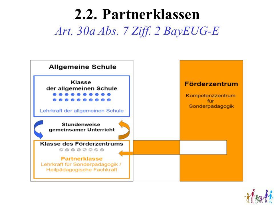 2.2. Partnerklassen Art. 30a Abs. 7 Ziff. 2 BayEUG-E