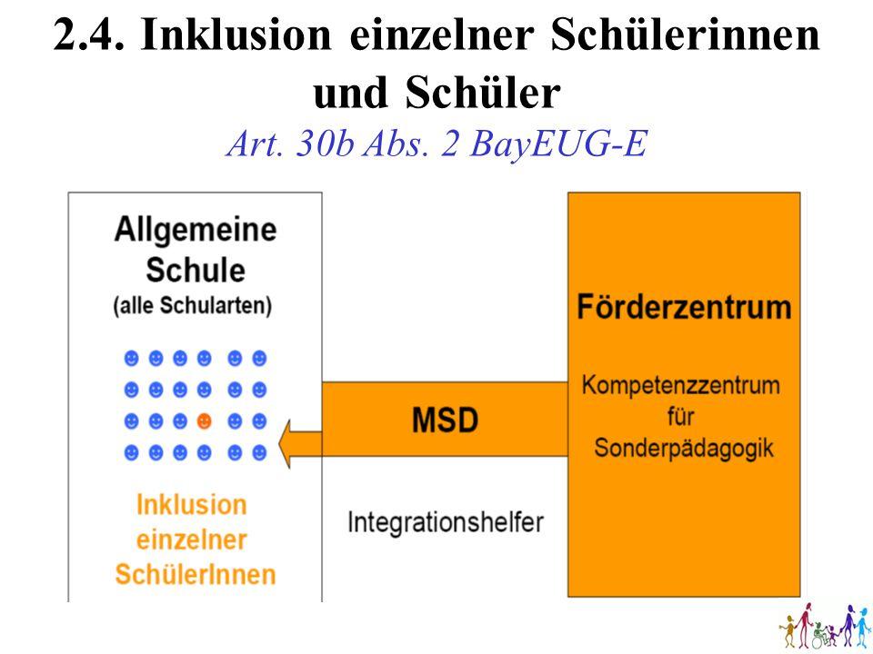 2. 4. Inklusion einzelner Schülerinnen und Schüler Art. 30b Abs