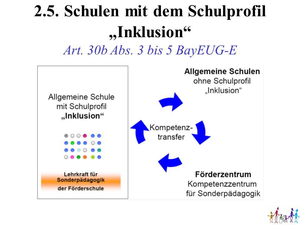 """2. 5. Schulen mit dem Schulprofil """"Inklusion Art. 30b Abs"""