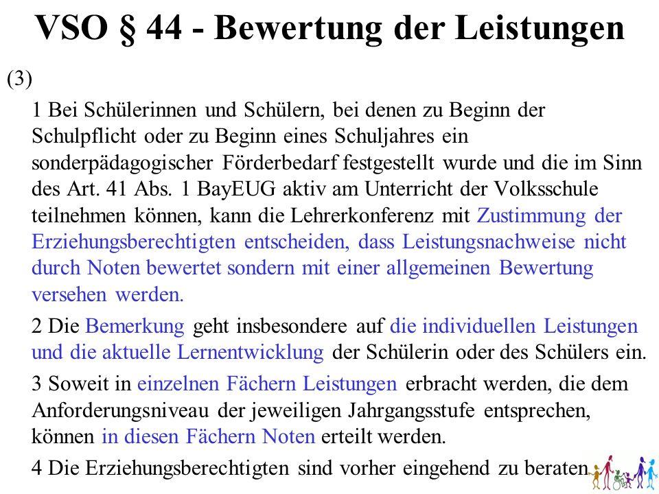 VSO § 44 - Bewertung der Leistungen