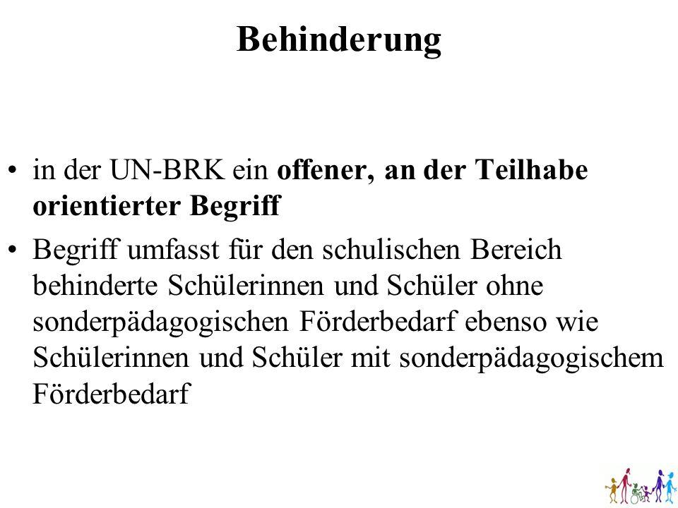 Behinderung in der UN-BRK ein offener, an der Teilhabe orientierter Begriff.
