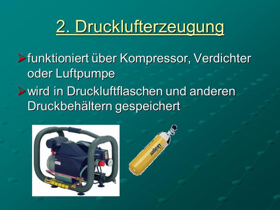 2.Drucklufterzeugungfunktioniert über Kompressor, Verdichter oder Luftpumpe.