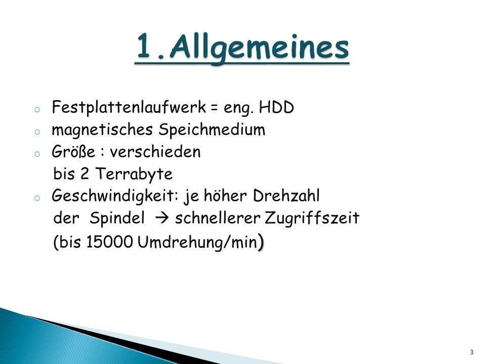 1.Allgemeines Festplattenlaufwerk = eng. HDD magnetisches Speichmedium