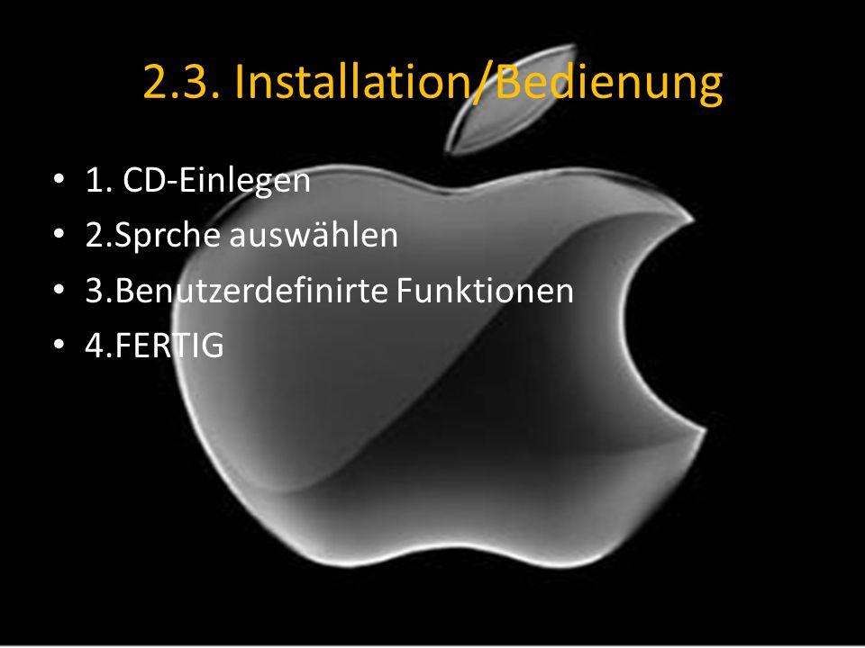 2.3. Installation/Bedienung
