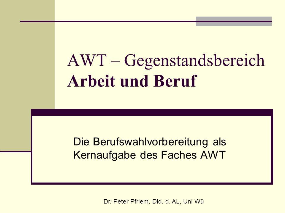 AWT – Gegenstandsbereich Arbeit und Beruf