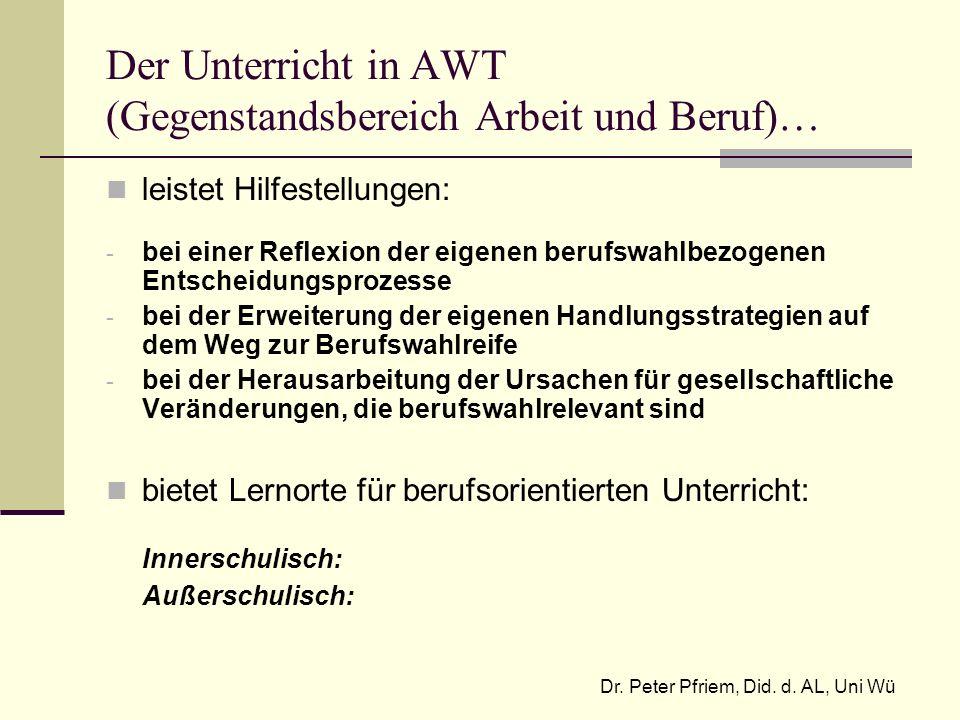 Der Unterricht in AWT (Gegenstandsbereich Arbeit und Beruf)…