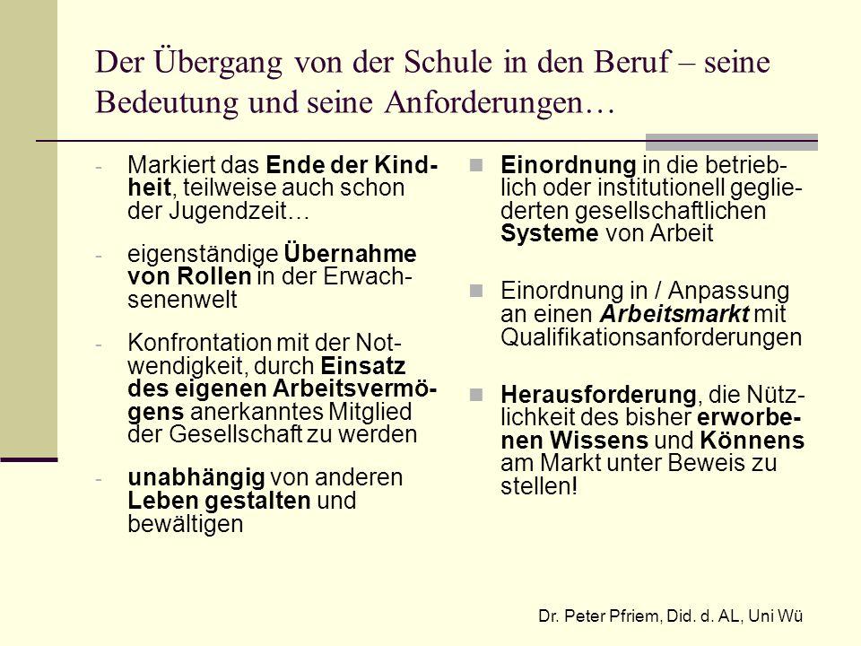 Dr. Peter Pfriem, Did. d. AL, Uni Wü
