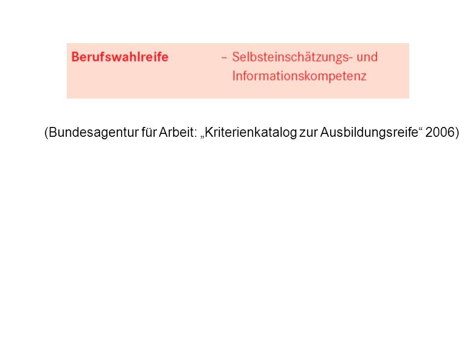 """(Bundesagentur für Arbeit: """"Kriterienkatalog zur Ausbildungsreife 2006)"""
