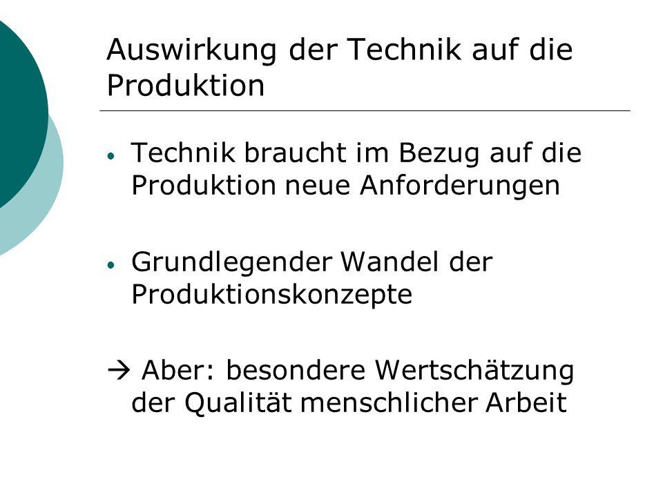Auswirkung der Technik auf die Produktion