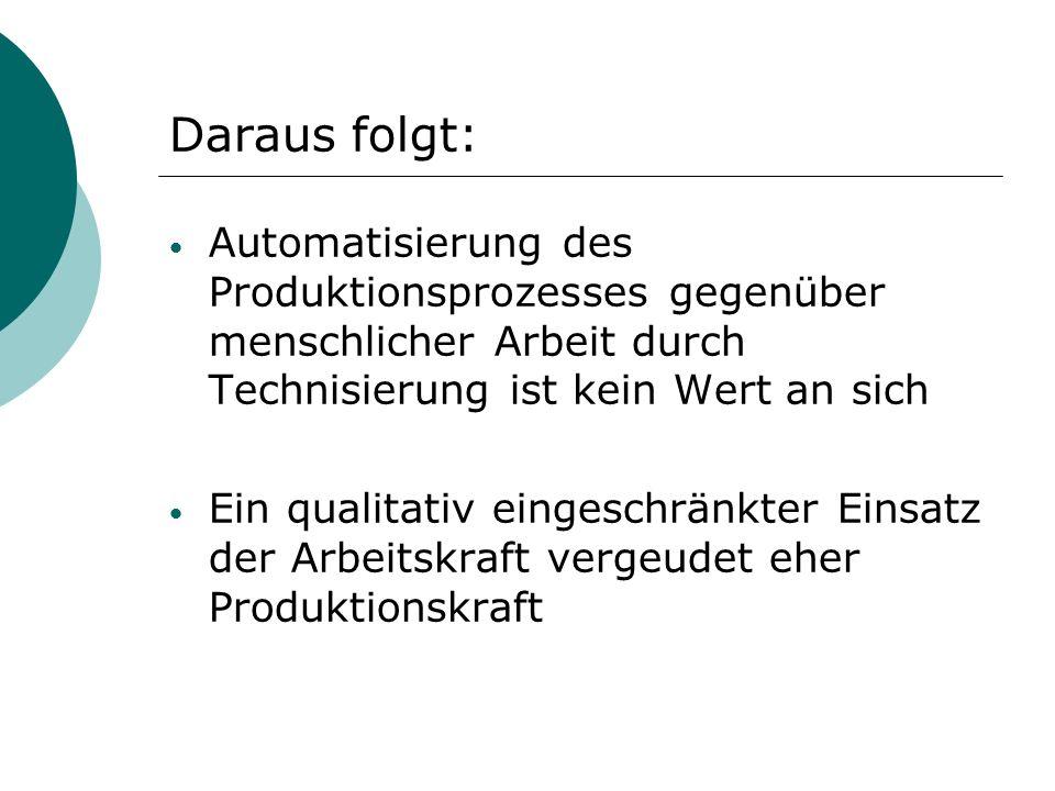 Daraus folgt: Automatisierung des Produktionsprozesses gegenüber menschlicher Arbeit durch Technisierung ist kein Wert an sich.