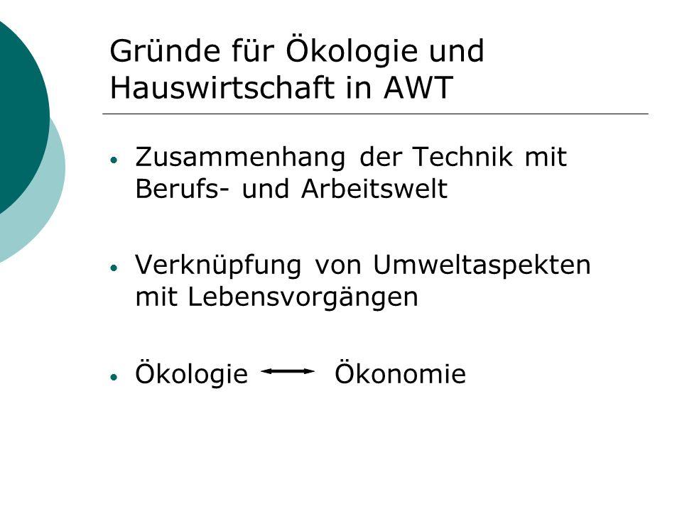 Gründe für Ökologie und Hauswirtschaft in AWT