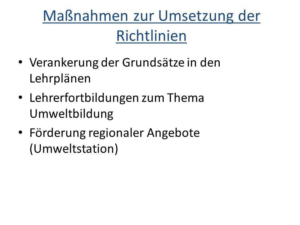 Maßnahmen zur Umsetzung der Richtlinien