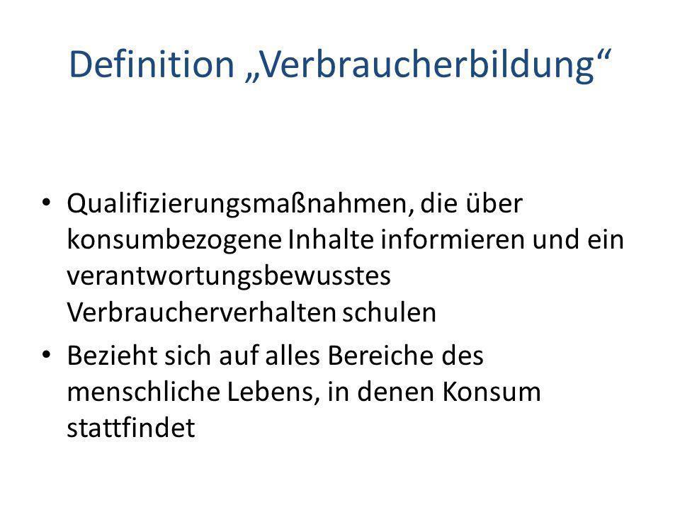 """Definition """"Verbraucherbildung"""