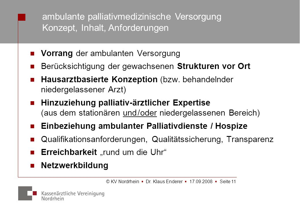 ambulante palliativmedizinische Versorgung Konzept, Inhalt, Anforderungen