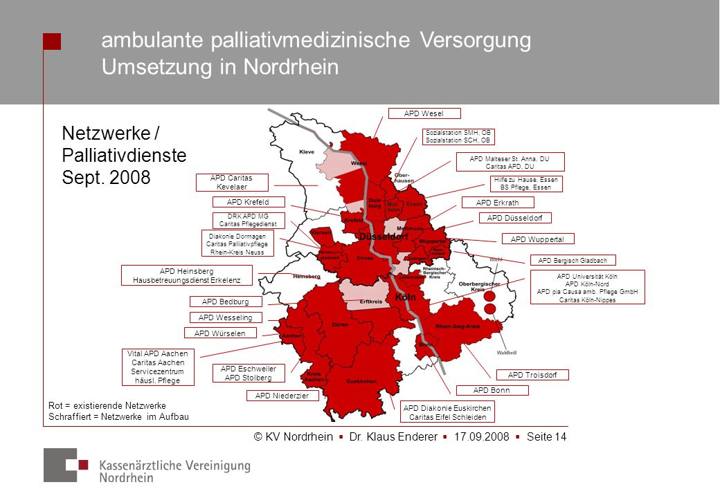 ambulante palliativmedizinische Versorgung Umsetzung in Nordrhein