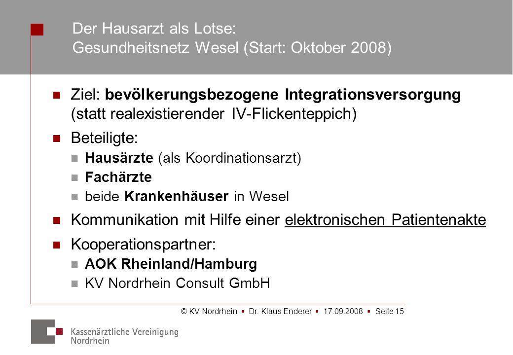Der Hausarzt als Lotse: Gesundheitsnetz Wesel (Start: Oktober 2008)