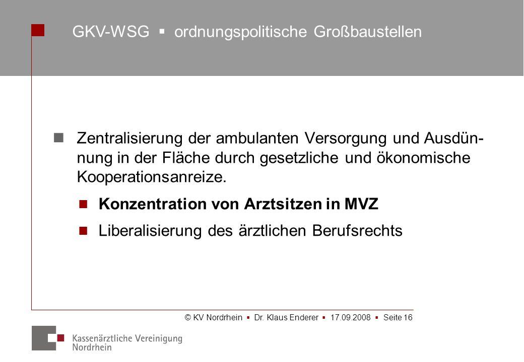 GKV-WSG  ordnungspolitische Großbaustellen