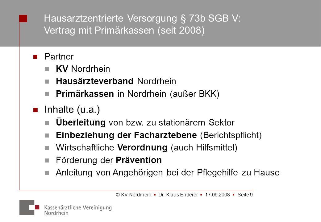 Hausarztzentrierte Versorgung § 73b SGB V: Vertrag mit Primärkassen (seit 2008)