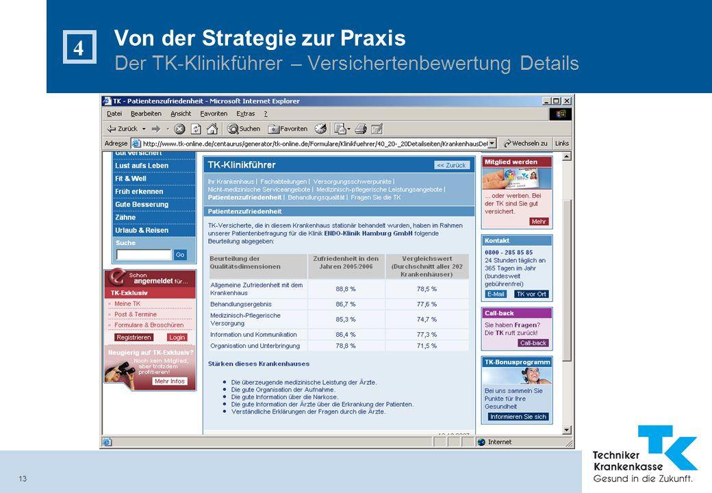 Von der Strategie zur Praxis Der TK-Klinikführer – Versichertenbewertung Details