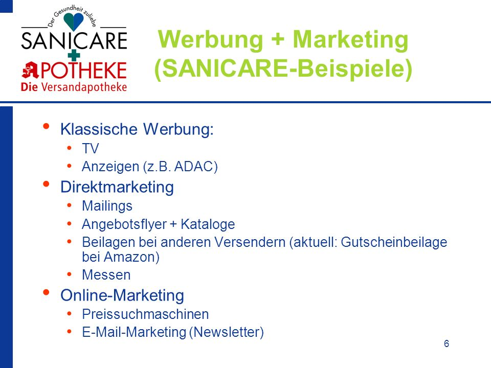 Werbung + Marketing (SANICARE-Beispiele)
